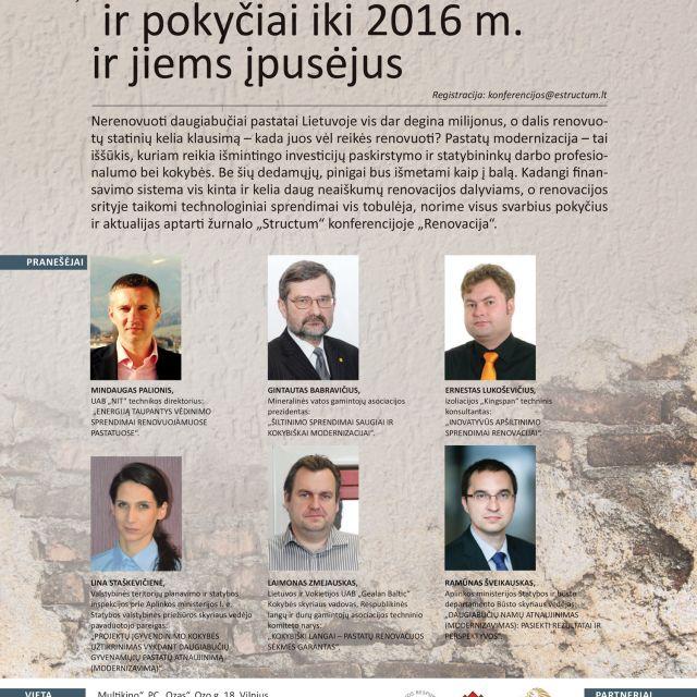 """STRUCTUM konferencija """"Renovacija - rezultatai ir pokyčiai iki 2016 m. ir jiems įpusėjus"""""""